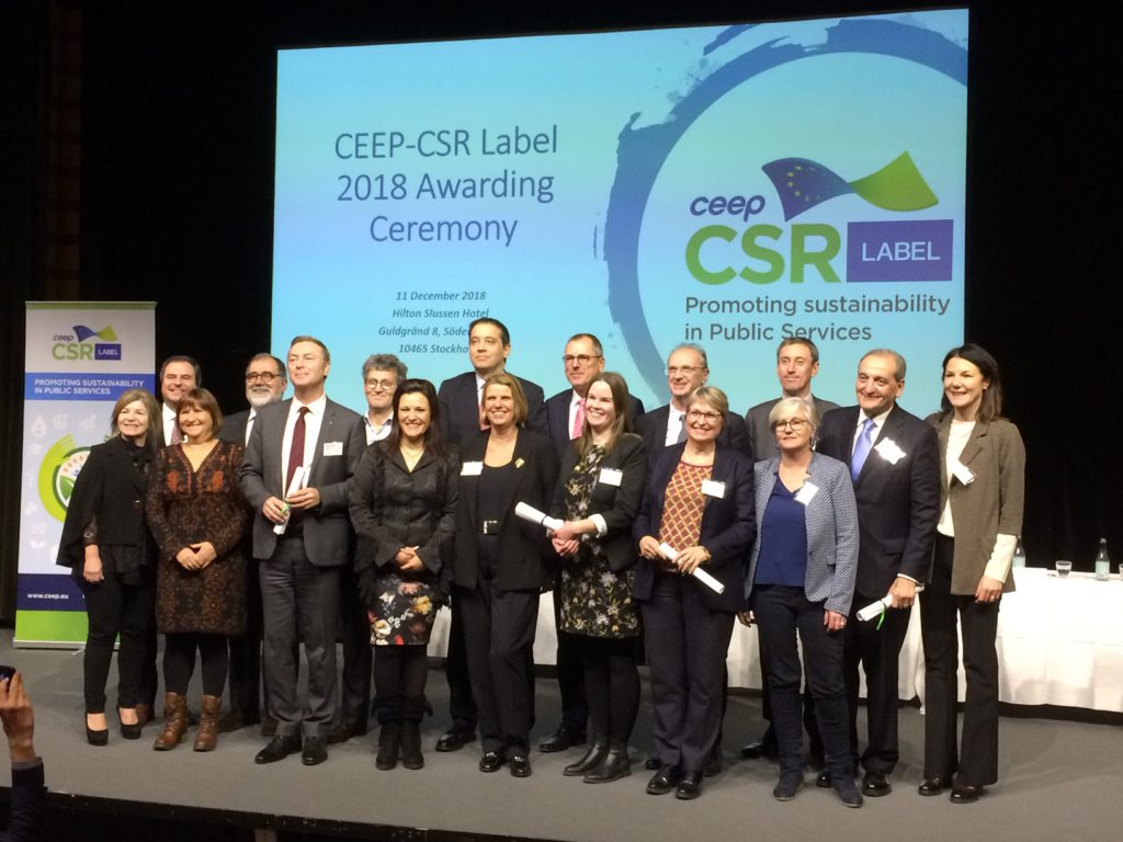 Les lauréats du label CEEP-CSR le 11 décembre à Stockholm. Photo CEEP