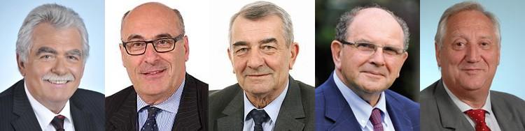 De g. à dr. : André Chassaigne, Jean-Léonce Dupont, Daniel Raoul, Jean-Pierre Schosteck et Jean-Pierre Balligand. Photos DR